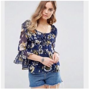 Band Of Gypsies Sheer Blue Floral Ruffle Blouse M